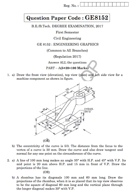 GE8152: Engineering Graphics Question Papers {New