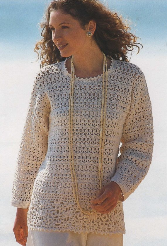 Womens Tunic Sweater PDF Crochet Pattern : Ladies 32 - 34 and 38 ...