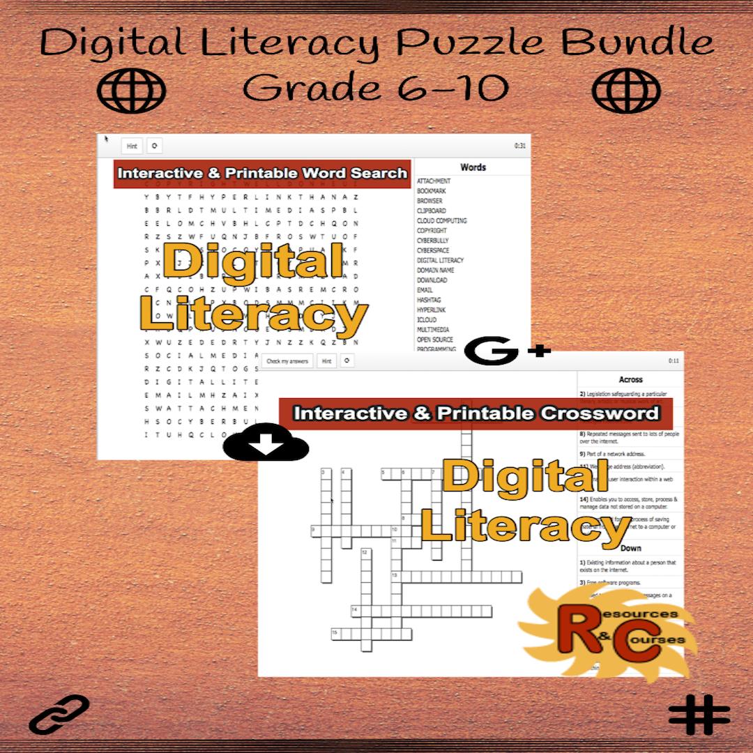 Digital Literacy Grade 6 10 Word Search Amp Crossword Pair