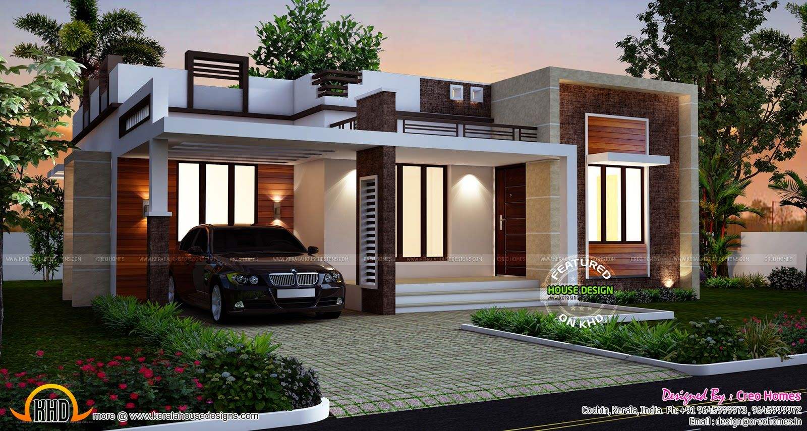 Single Story Flat Roof House Plans Jpg 1600 855 Kerala House Design House Roof Design Beautiful House Plans