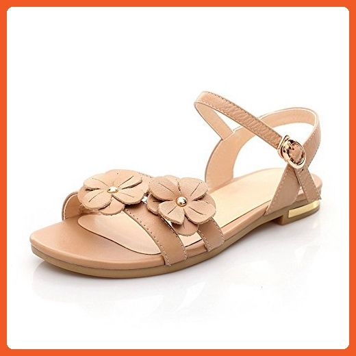 2f9921282 AmoonyFashion Women s Soft Material Buckle Open Toe Low Heels Solid Sandals  with Flowers