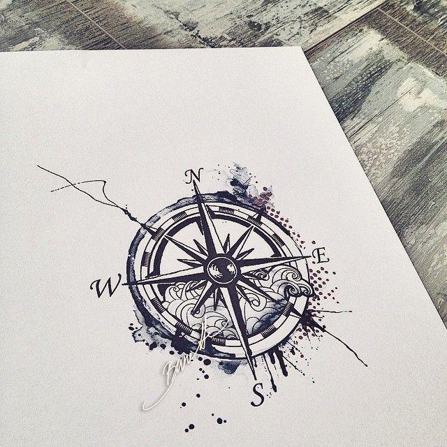 The Bunette On Instagram Compasstattoo Compass Abstracttattoo Abstract Wave Bunette Trashpolka Watercolor Compass Tattoo Compass Tattoo Tattoos
