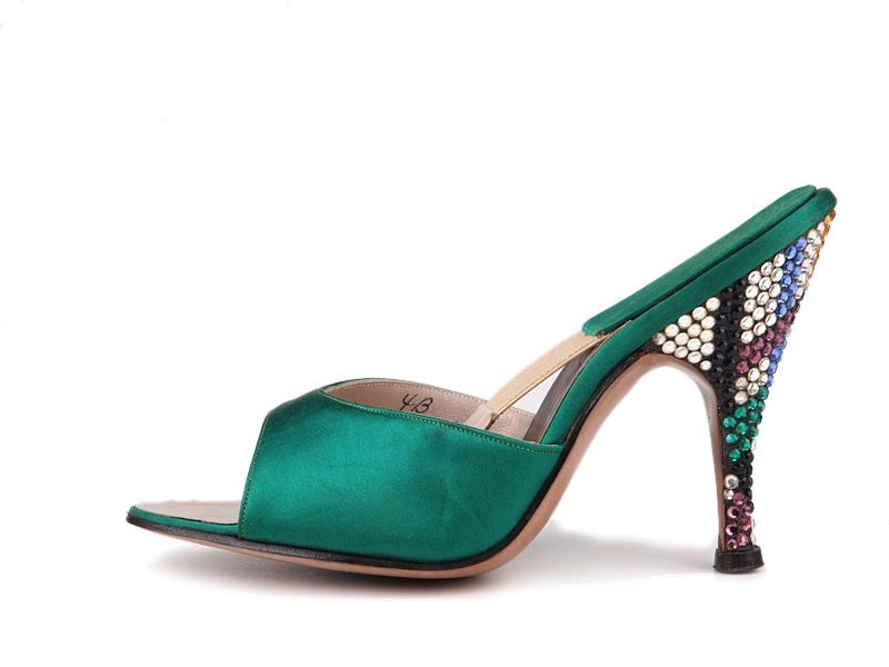 e42c237801b84 1950s Beth Levine Spring-O-Lator dark green satin mules with ...