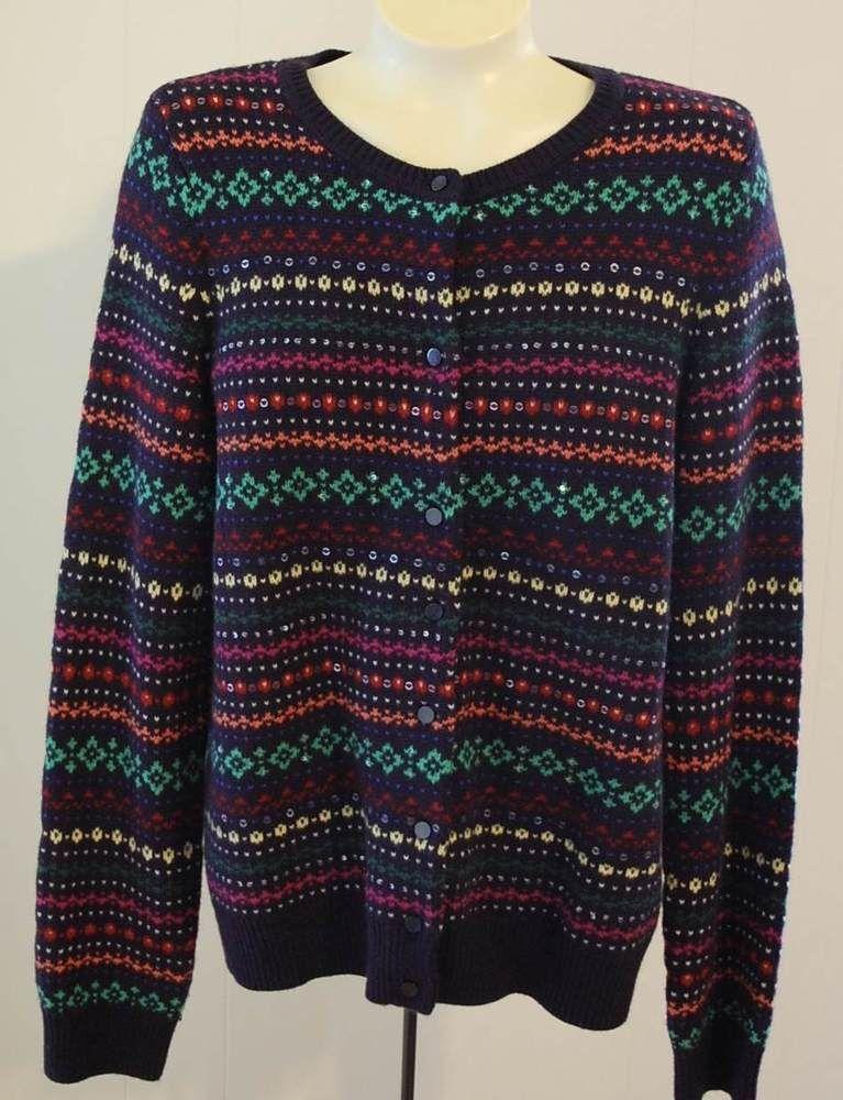 Talbots Cardigan Sweater L Blue Fair Isle Stripe Sequins Lambswool ...