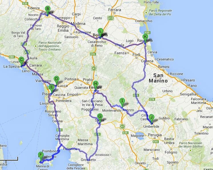 Route 2014 Italie Pinterest