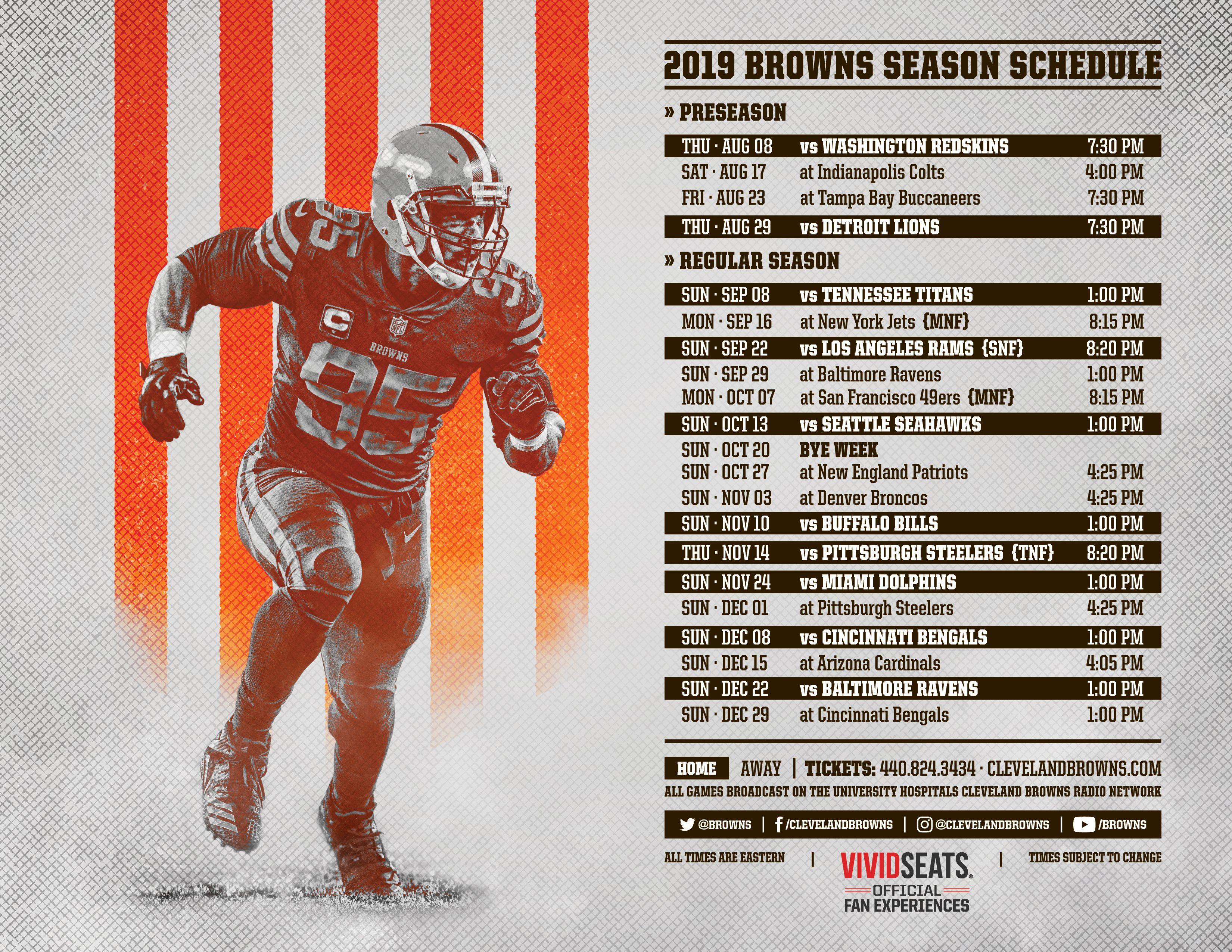 2019 Cleveland Browns Schedule Detroit Lions Tennessee Titans Browns Schedule