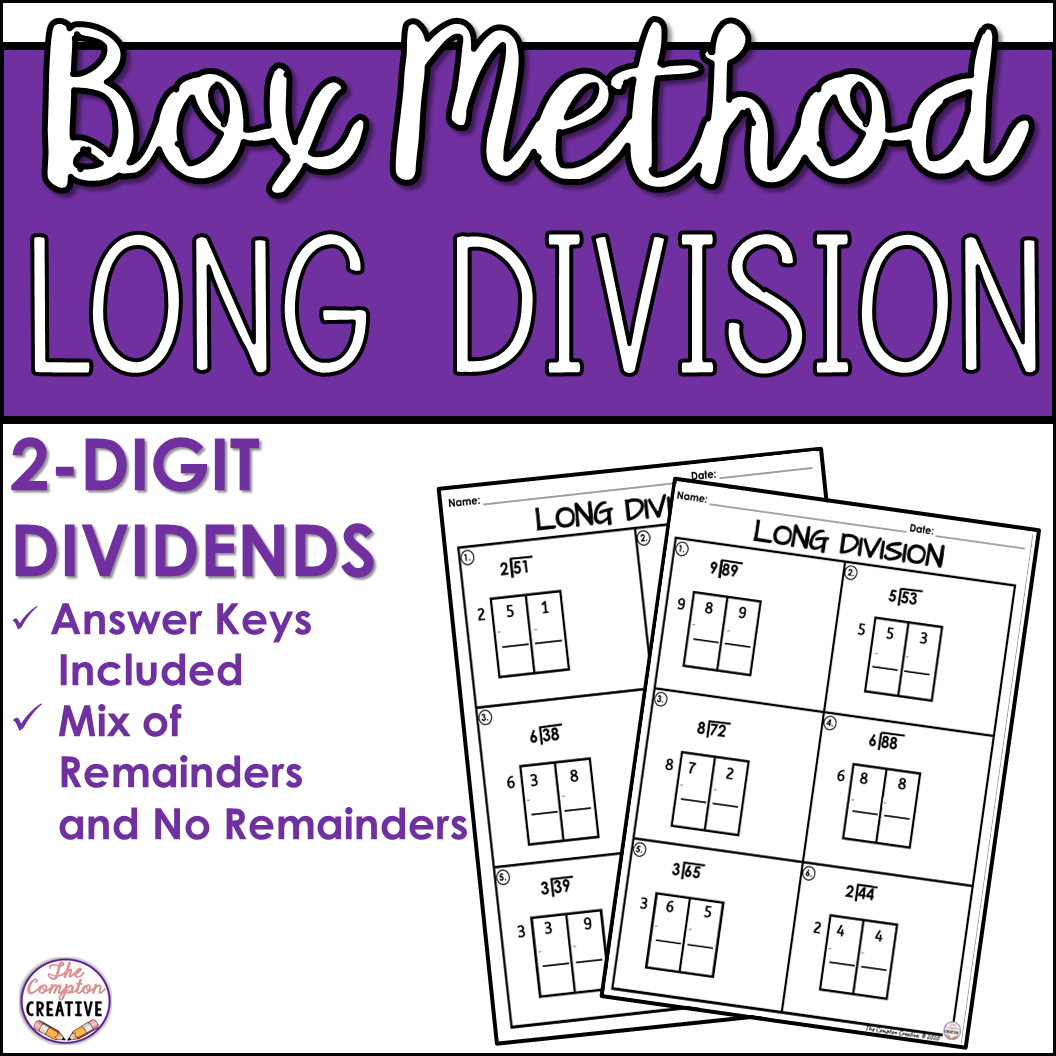 2 Digit Dividends Box Method Long Division Worksheets