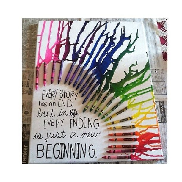 Love this! Hot glue crayons on a canvas and use a hair dryer to melt the crayons! (Cover newspaper under your work area! It can get very messy!) {Source: jokc.Tumblr.Com} #Padgram