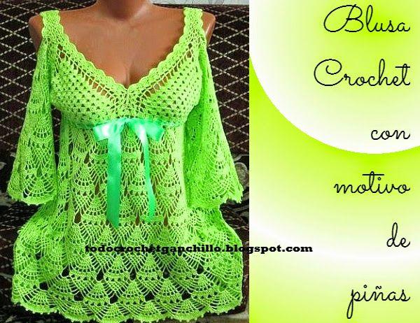Blusa tejida al crochet con punto piña con esquemas   costura ...