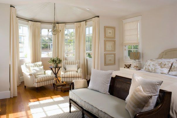Beautiful Bedroom Love The Bench At The End Of The Bed The Sitting Area Home Bay Window Design Bay Window Treatments