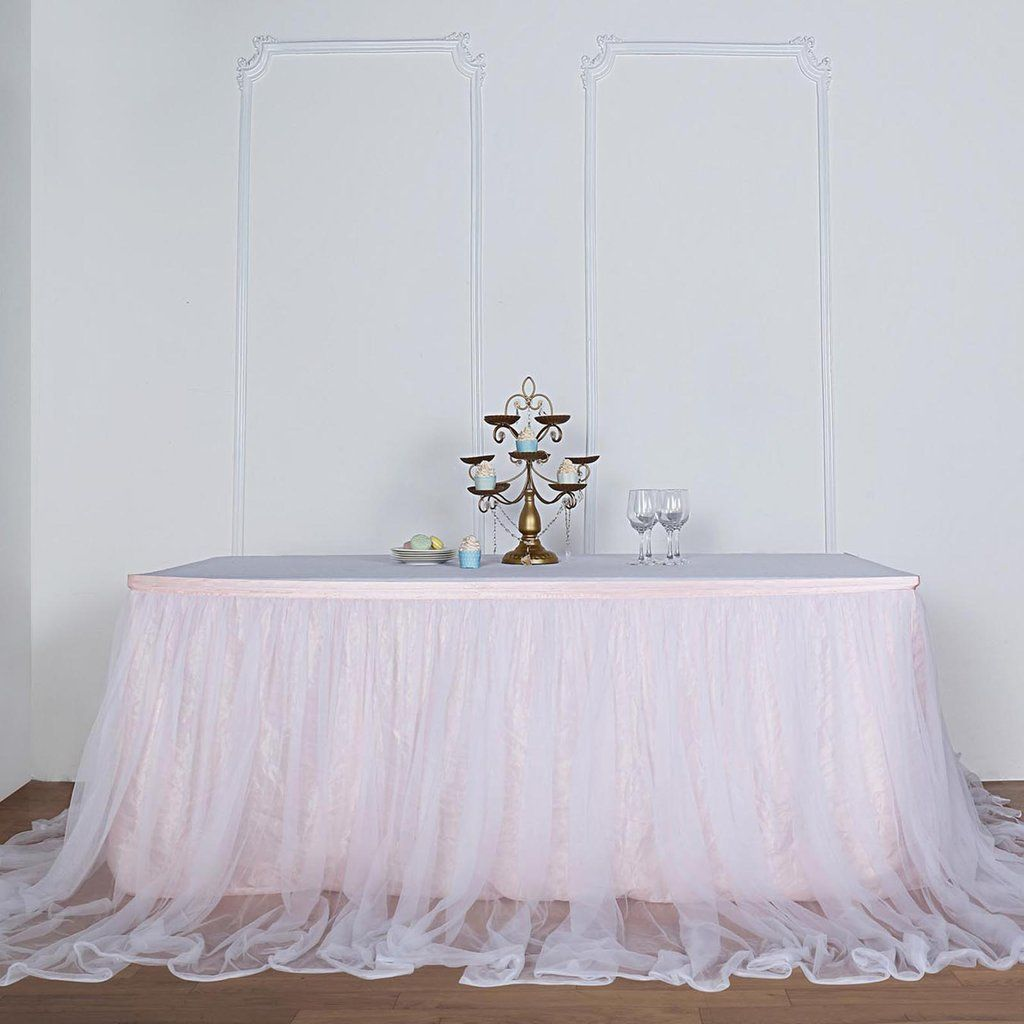 17ft Extra Long 48 Two Layered Tulle Satin Table Skirt Blush Rose Gold White In 2021 Blush Baby Shower Decor Rose Gold Wedding Decor Table Skirt