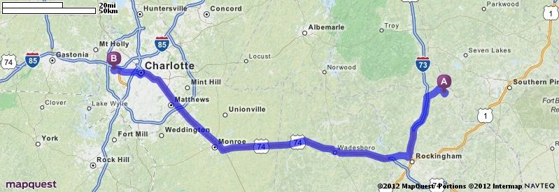 Driving Directions from 332 McCall Rd Ellerbe North Carolina 28338