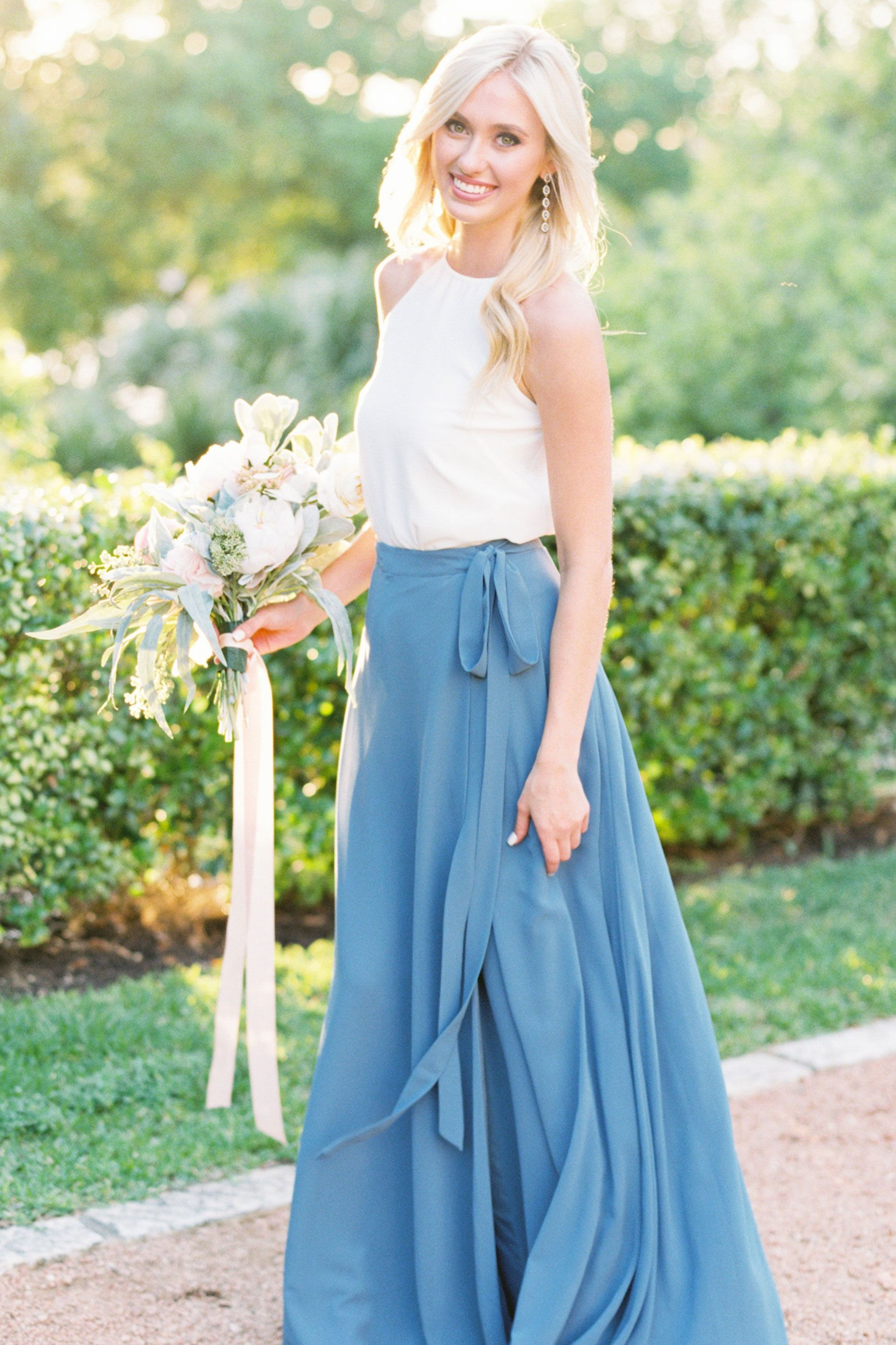 Chiffon wrap skirt bridesmaid dress #bridesmaids