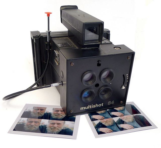 Shackman Multishot 84 | Polaroid Miniportrait Studio express camera taking 4 pictures in one