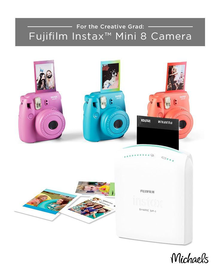 Capturing your graduation moments and having actual pictures has never been easier! Introducing the Fujifilm Instax family of products for all your photo needs. Whether it's needing to capture the moment with the Mini 8 Camera and film or printing out the pictures on your phone with the Smartphone Wireless Printer, you will always have a way to look back on these memories. Get these vibrant Mini 8 Cameras exclusively at Michaels.