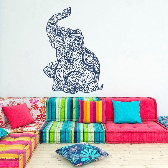 Nice Elephant Wall Decal Stickers Elephant Yoga Wall Decals Indie Wall Art Bedroom Dorm Nursery Boho Bedding Home