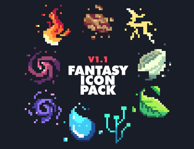 DGHZ - Fantasy Icon Pack 1 1   Game Art Pack in 2019   Pixel
