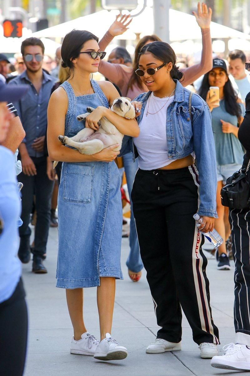 Kendall Jenner Wearing Stella Mccartney Wrap Denim Dress Adidas By Raf Simons Stan Smith Sneakers And Le Specs X Adam Selman The Last Sungles