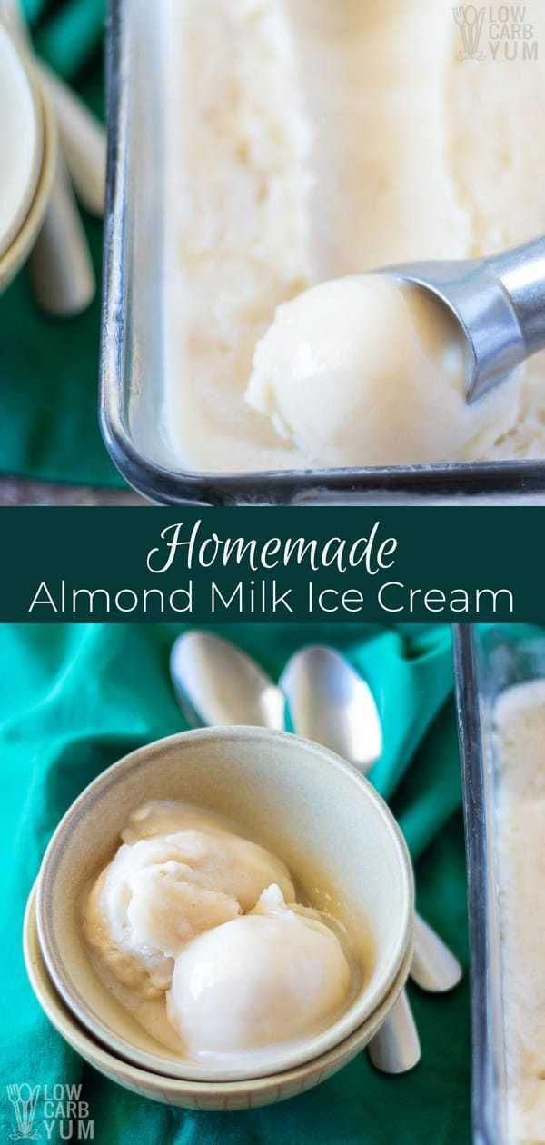 It's simple to make your own homemade almond milk ice cream with arecipe that takes just 10 minutes to prepare. And, it will produce huge smiles for a family of four.#dairyfree |  via @lowcarbyum