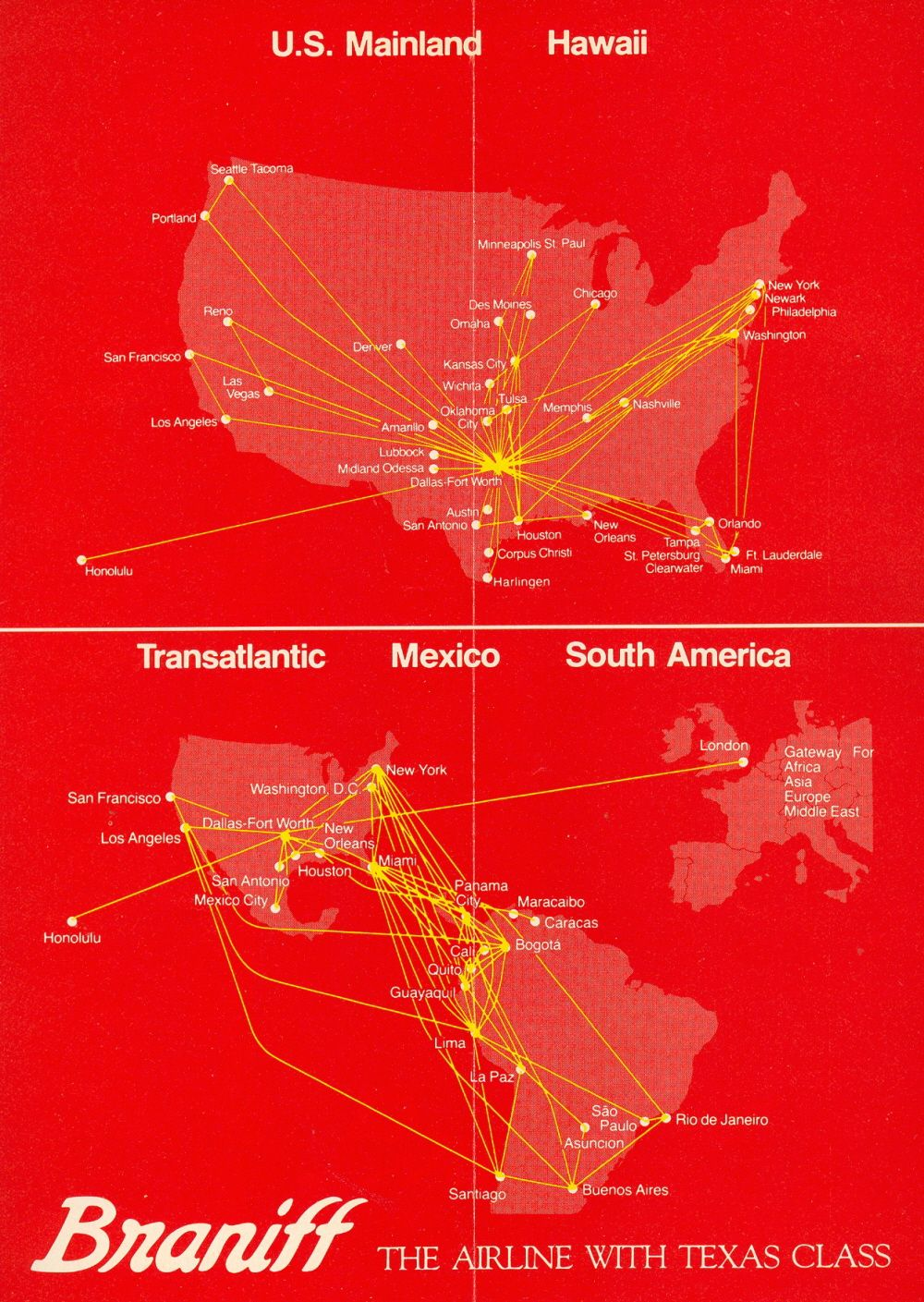 Eastern Airlines Advertisements 1960's Route map