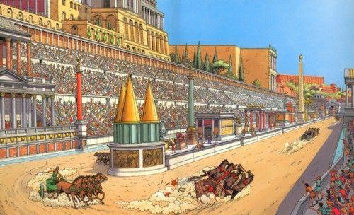 Recreación del Circus Maximus, en el que se representa una carrera de carros de caballos. Se puede observar la espina en el centro del Circo, y los caballos corren por una superficie de arena. Apartado 3.