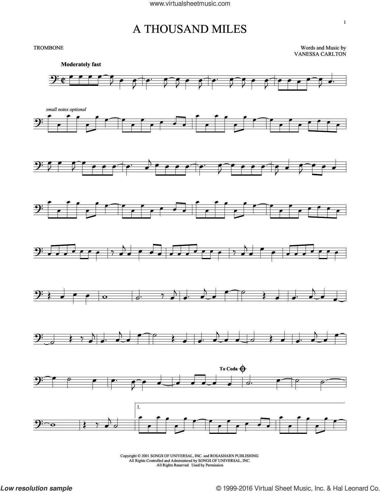 Carlton A Thousand Miles Sheet Music For Trombone Solo Pdf Sheet Music Trombone Trombone Sheet Music