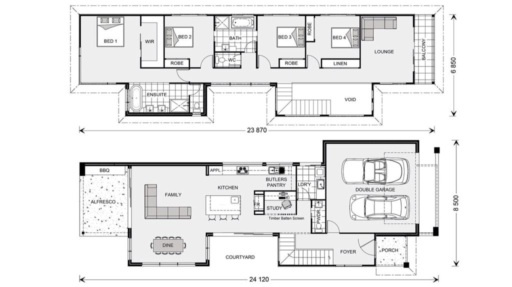 House Plan For Narrow Block Dom House Pinterest