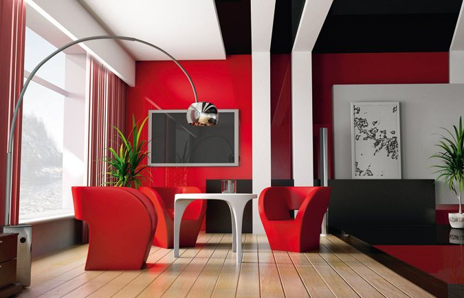 Idee deco salon rouge blanc noir for Peinture mur salon design