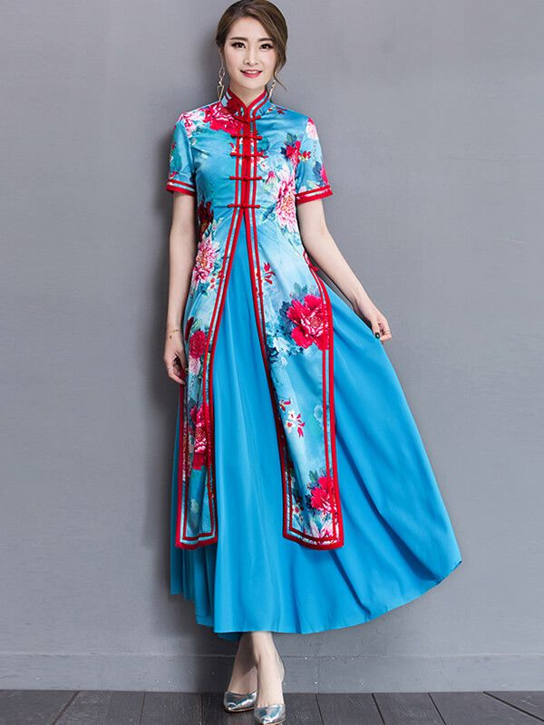 a5d564c65 Vietnamese Ao Dai Pattern Dress Traditional Chinese Dresses ...