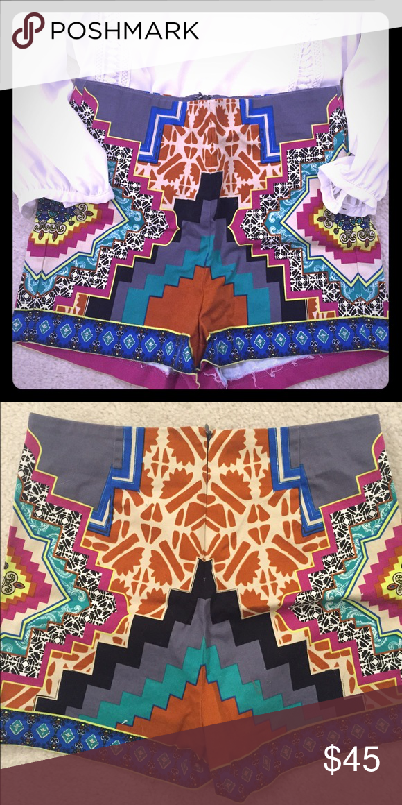 Size Med Tribal High Waisted Shorts Super cute and curve hugging (stretchy) tribal print shorts. Great to wear for a night out with a blouse and some chunky heels or during the day with a tank and some sandals. Worn once or twice Flying Tomato Shorts