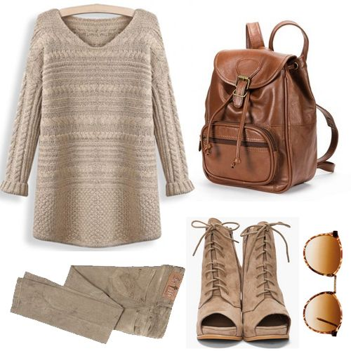 Coffee Long Sleeve Cable Knit Loose Sweater