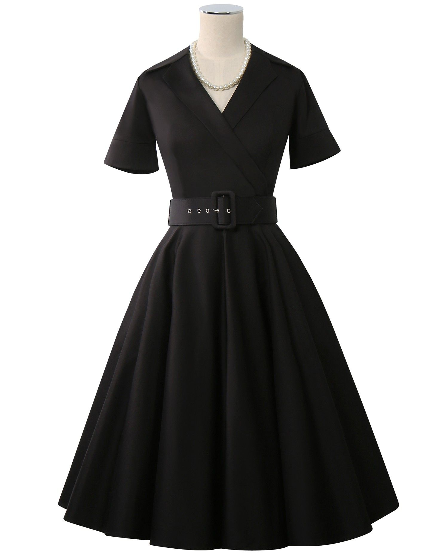 Duamour belted collar dress black retropinup pinterest
