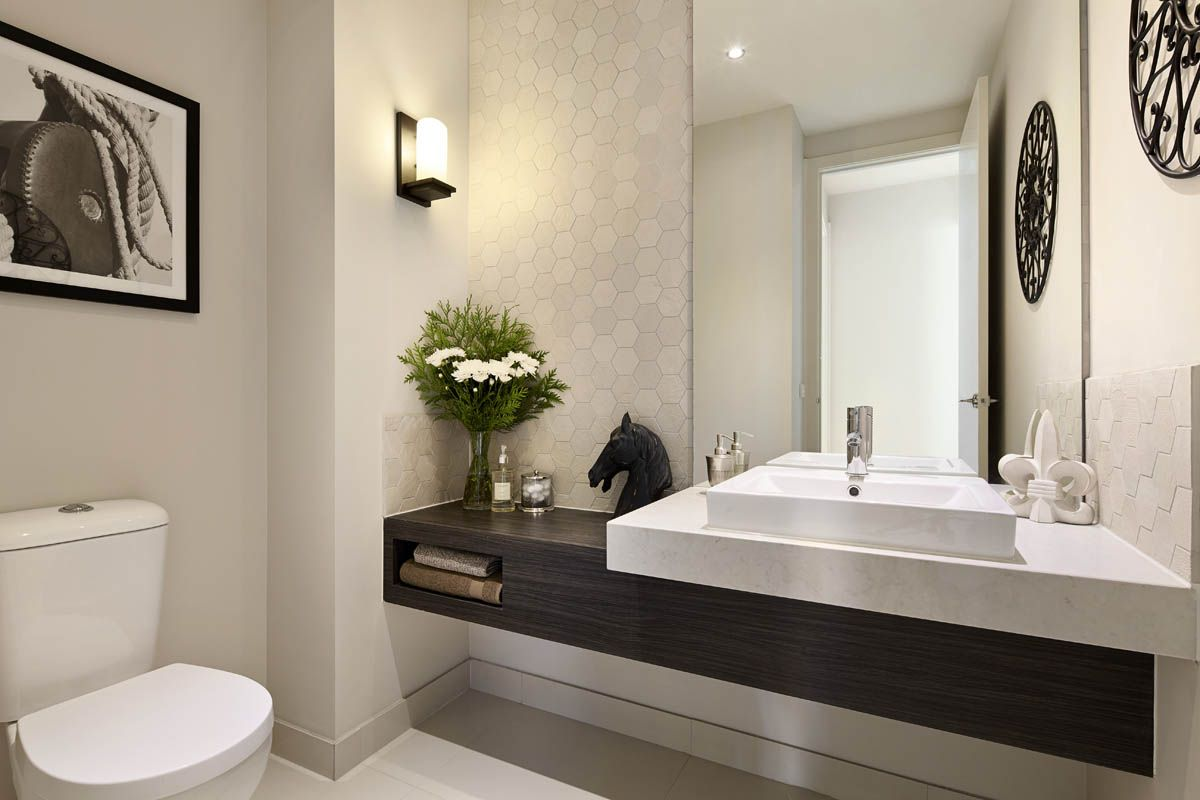 Carlisle homes 5000 london grey caesarstone bathrooms for Bathroom interior design london