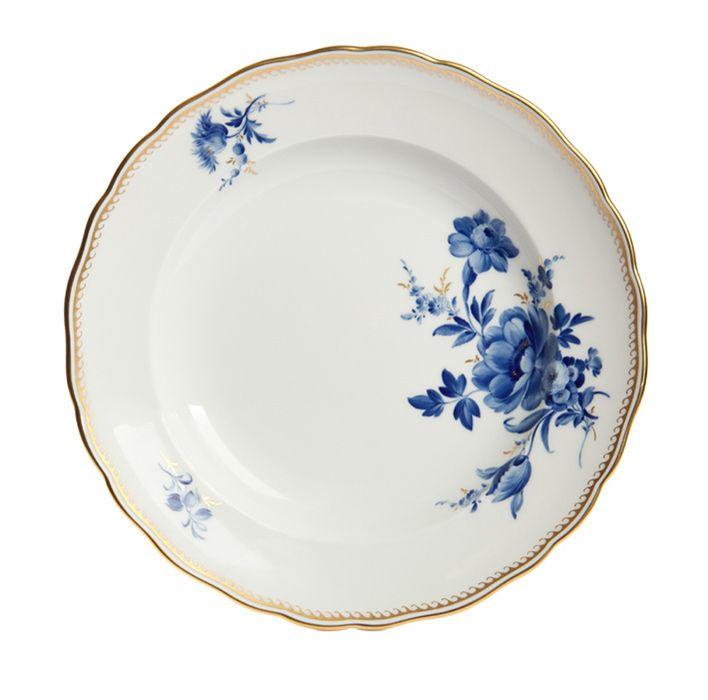 """MEISSEN  Plate, Shape """"Neuer Ausschnitt"""", Bouquet,6 flowers,off centre,cobalt blue,golden…"""