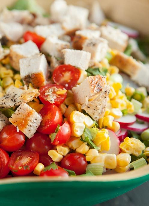 Easy to make delicious Chopped Mexican Chicken and Corn Salad.