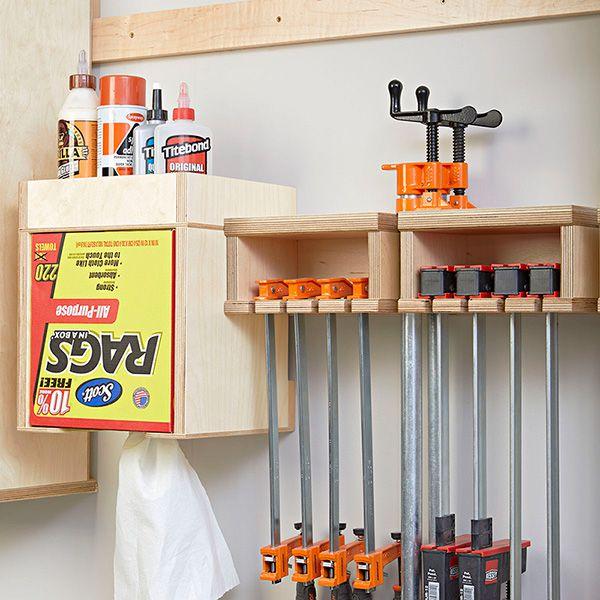 Upper Kitchen Cabinet Woodworking Plans: One-Wall Workshop: Clamp Rack Glue Station