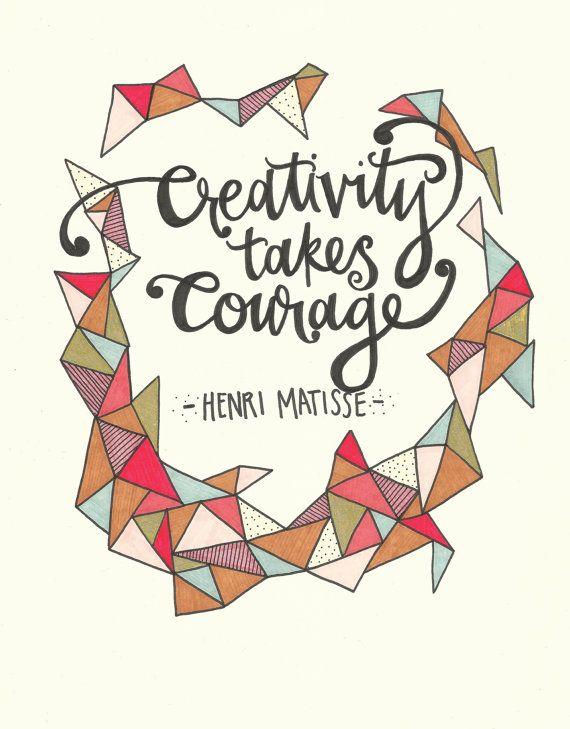 Henri Matisse Hand Lettered Quote Original Artwork via