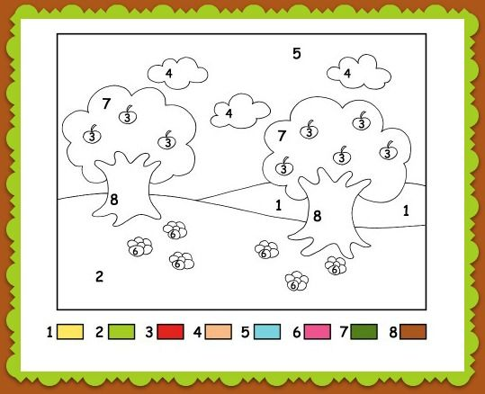 Color By Numbers Apple Tree Coloring Page For Kids