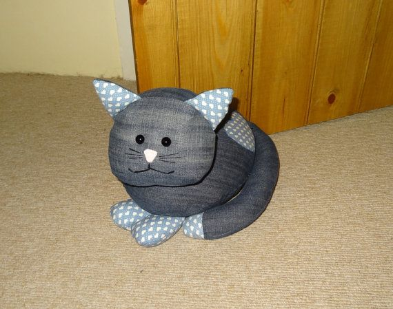 Unique Upcycled Denim Jeans Cat Doorstop  by StuffingandSprings