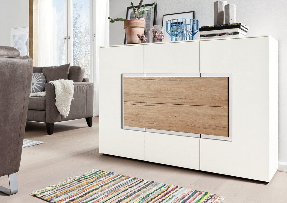 Set One By Musterring Sideboard Arizona Hochglanz Mit Absetzung In Holzoptik Breite 143 Cm Set One By Musterring Sideboard Weiss Musterring