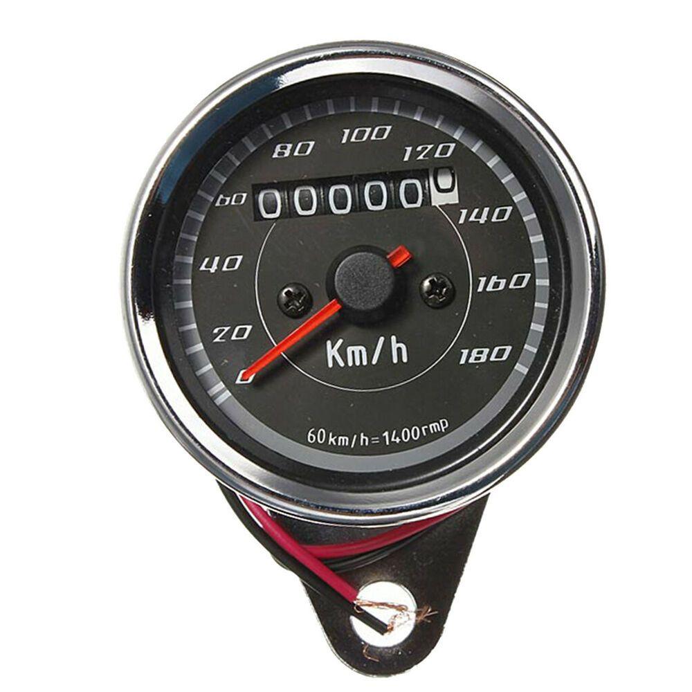 Stainless Steel Motorbike Front UK LED Odometer Speedometer Tacho Chrome Gauge