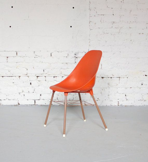 Mid Century Retro Red Orange Plastic Shell by departmentChicago, $45.00