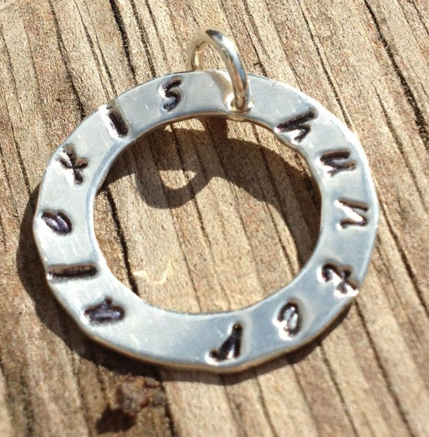 3/4-inch washer pendant with hand stamped names $20