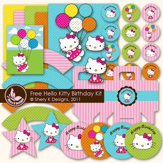 Free SVG and Pintable Hello Kitty Birthday Kit by sherykdesigns-blog.com love these!!!
