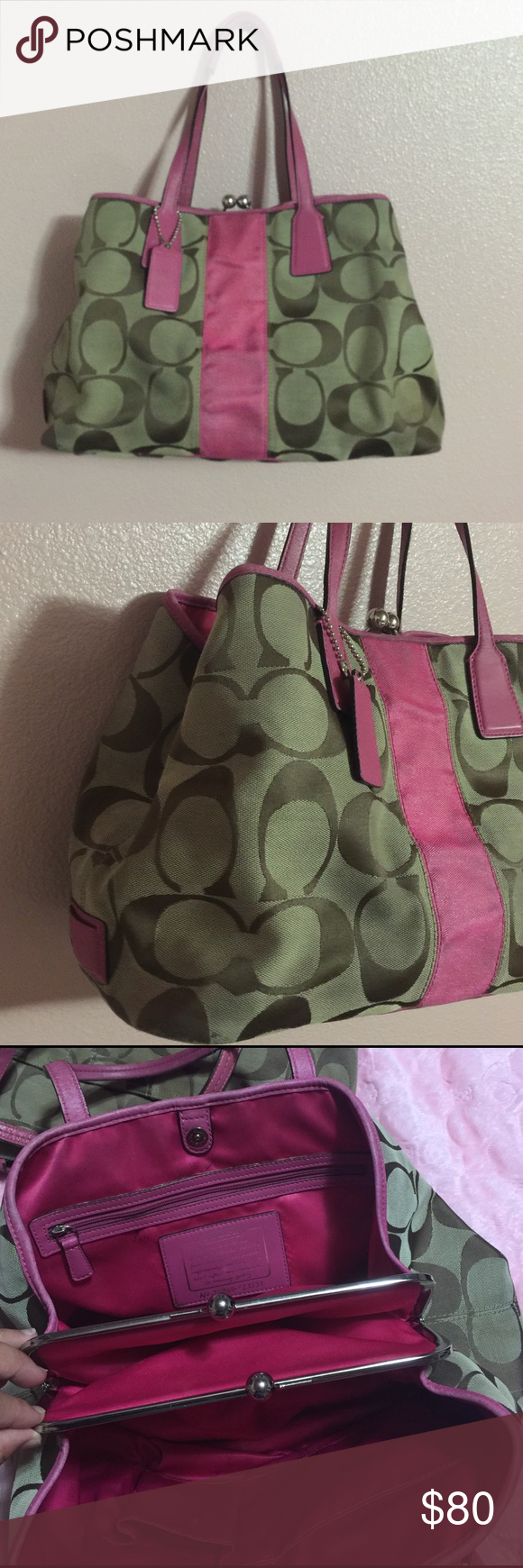 Coach signature purse Used purse but still has a lot of life. Special edition of coach . Medium size . A lot of rooms highly organized . There are some makes of use here and there but over all it's in good condition . Coach Bags Shoulder Bags