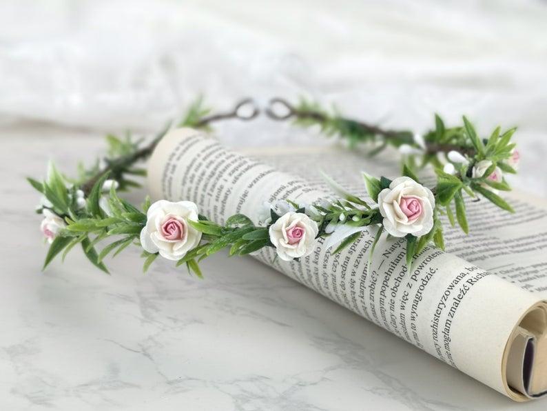 Flower Crown Flower Wreath Flower Crown Bridal Wreath Hair Etsy In 2020 Blossoms Band Flower Crown Ribbon Headbands