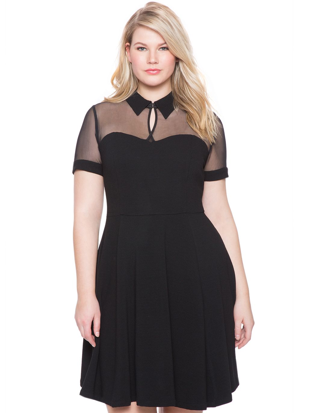 96be84dd692b ELOQUII Studio Collared Fit and Flare Dress