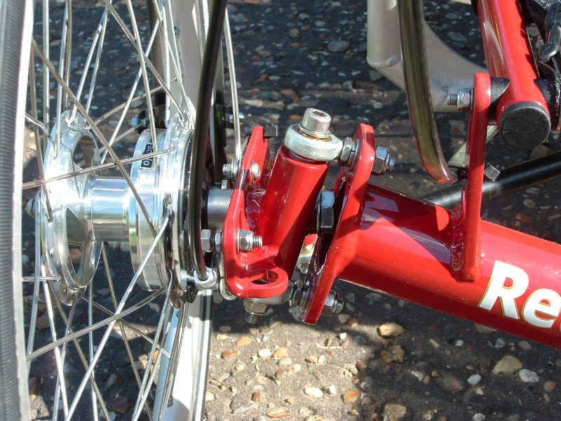 Close-up of the steering kingpin assembly on the Roller recumbent
