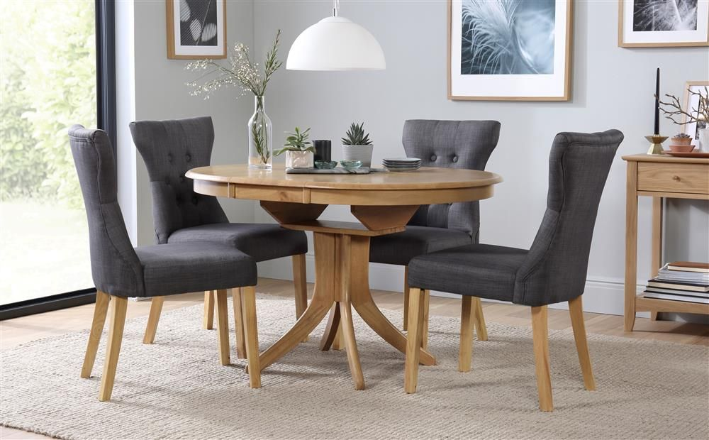 Hudson Round Oak Extending Dining Table With 4 Bewley Slate