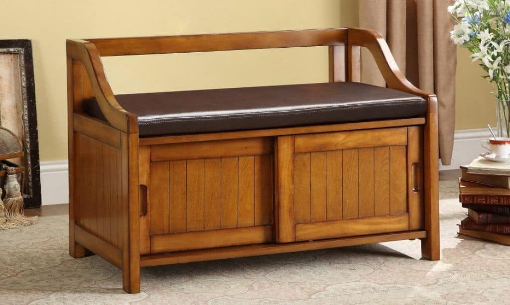 Wooden Shoe Storage Bench With Leather Seat And Sliding Doors As Effective